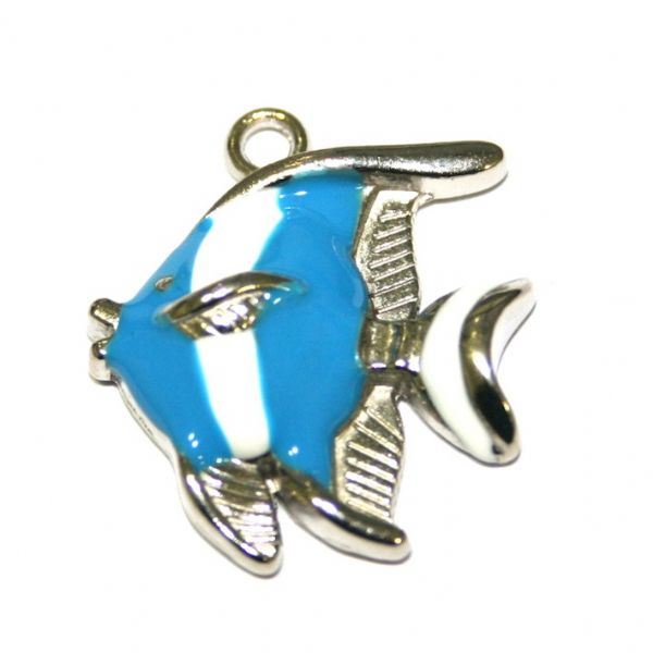 1pce x 25*21mm Rhodium plated blue / white colour fish enamel charm - SD03 - CHE1276